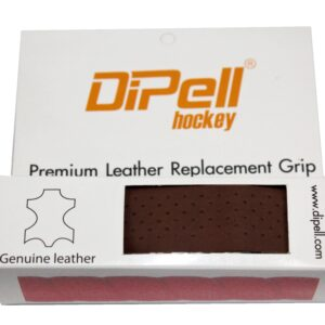 Leather hockey grip brown heavy perforation