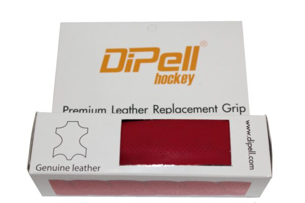 Leather hockey grip red light perforation