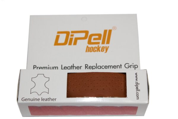 Leather hockey grip tan heavy perforation